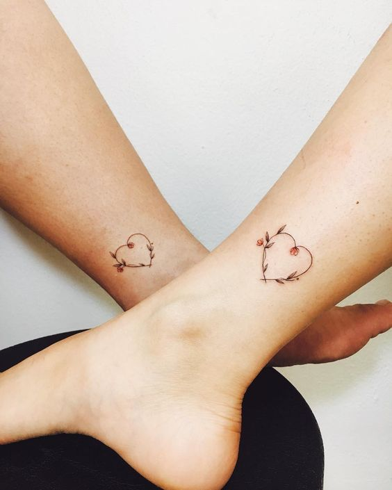 Beautiful Floral Heart Tattoos – Mother Daughter Tattoos – Mother Tattoos