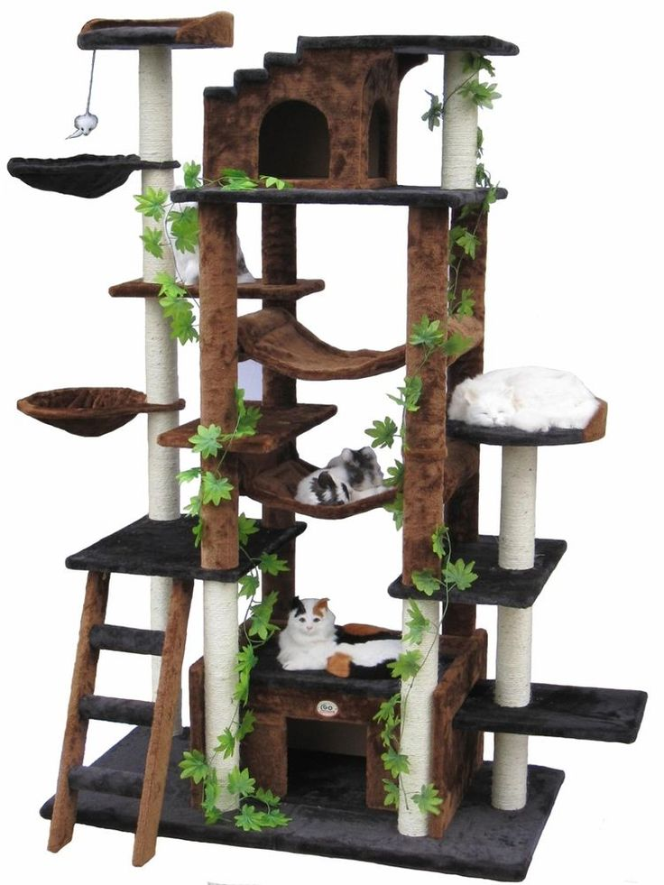 Black Cat Tree House Condo Kitty Kitten Scratching Tower Pet Club Sleep Leaves #CatTree