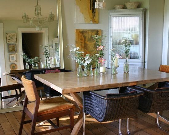 Farmhouse Table Design. Love the mix of chairs esp the mid century mods on the end!