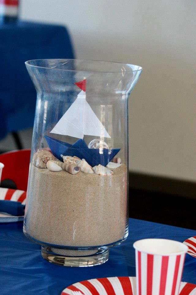 Love This DIY Centerpiece For A Nautical Party!