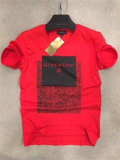 GVNCHY Erkek Baskılı Sıfır Yaka Tişört Kırmızı
