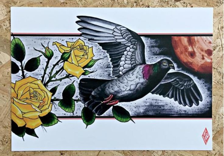 We love Animals, can you tell? Blog post about animal inspired prints at www.stagandraven.com #tattoo #tattooart #tattooartwork #tattooinspiration #tattooidea #tattoorose #yellowrose #pigeon #birdinflight #traditionaltattoo #blogpost #article #animal #animalartwork #tattooartist