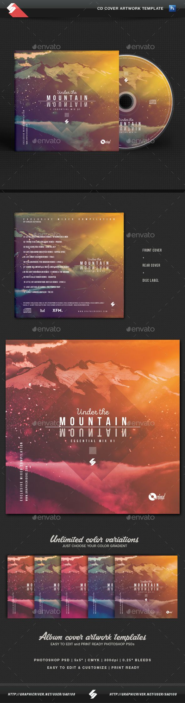 PSD Under The Mountain - Chillout CD Cover Artwork Template  • Only available here ➝ http://graphicriver.net/item/under-the-mountain-chillout-cd-cover-artwork-template/16437507?ref=pxcr
