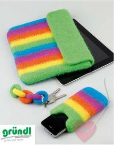 Anleitung für eine Handytasche, Tablett-PC-Hülle und Schlüsselanhänger aus Strickfilz