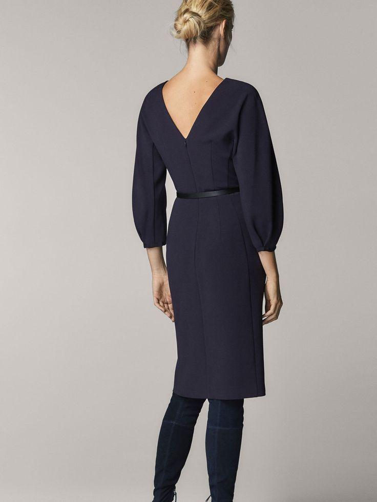 VESTIDO MARINO DETALLE GLOBO de MUJER - Vestidos de Massimo Dutti de Otoño Invierno 2017 por 79.95. ¡Elegancia natural!