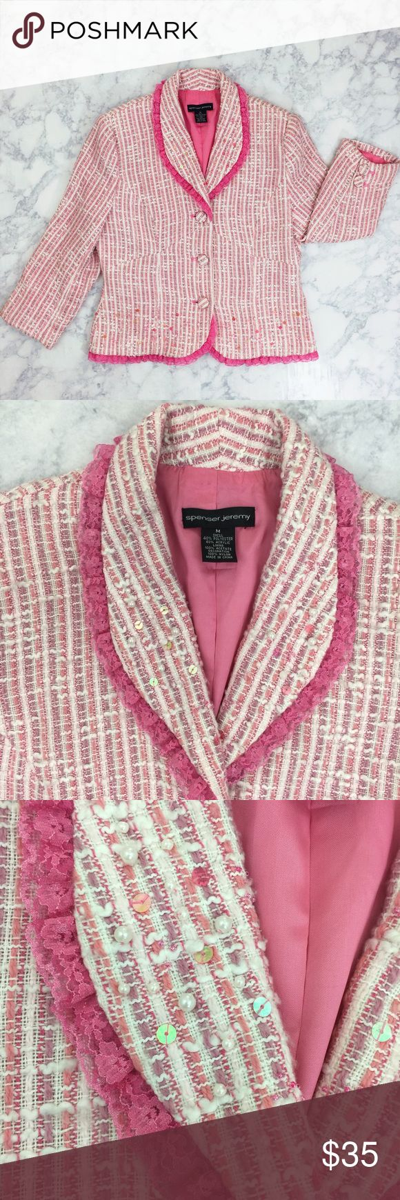 Spenser Jeremy Pink Pearl Sequin Blazer This is the cutest Blazer I have ever seen! Sequins, pearls and lace oh my! Excellent used condition. Spenser Jeremy Jackets & Coats Blazers