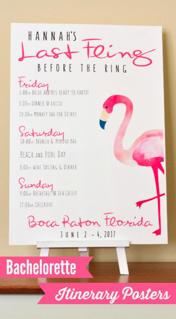 Looking for bachelorette party decor?  Try a personalized bach itinerary poster!