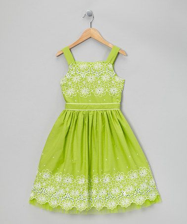 Take a look at this Lime Green Eyelet Daisy Dress - Girls Plus by Sweet Heart Rose on #zulily today!