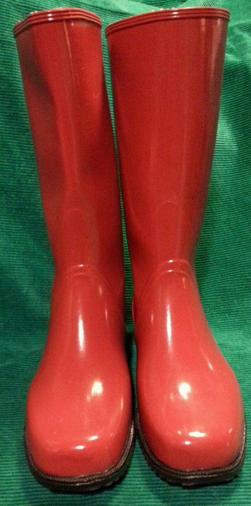 Nokia Handmade Finland Red Rain Mud Rubber Boots Womens