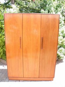 Mid-Century-Retro-1960-039-s-G-Plan-Fresco-Teak-Fitted-Triple-Wardrobe-Armoire