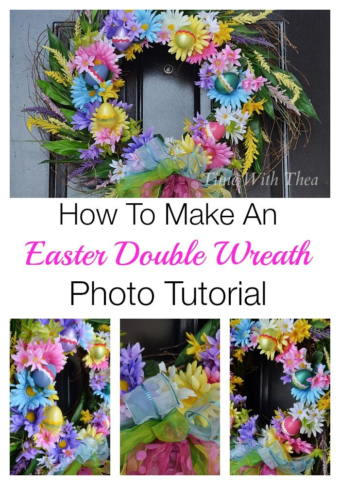 How To Make An Easter Double Wreath Photo Tutorial ~ This stunning DIY wreath looks a lot harder to make but the tutorial makes it so simple.