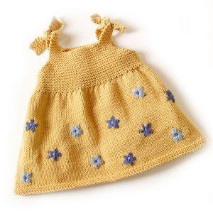 bonito vestido de punto#hecho a mano#para bebé#
