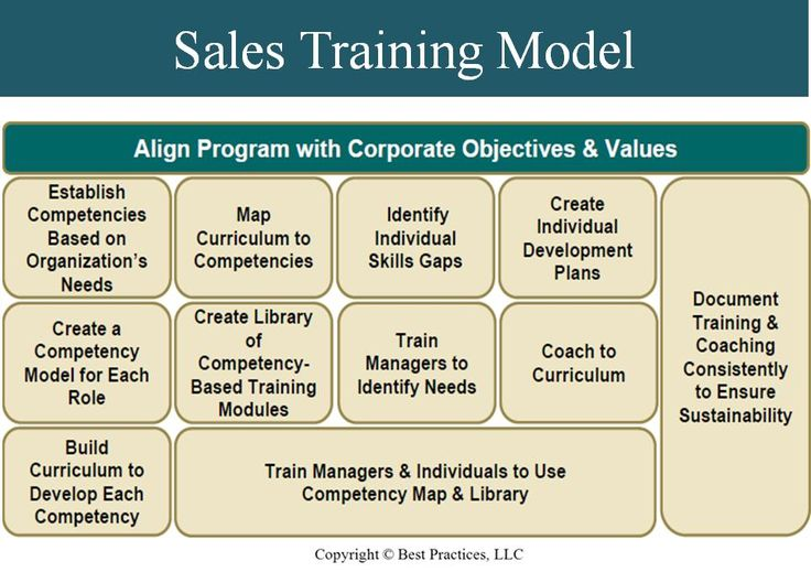 this infographic highlights a successful sales training model that integrates competencies and