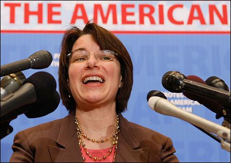 """At the Washington Ideas Forum Wednesday in the Newseum,Sen. Amy Klobuchar (D-Minn.)spoke about a historic moment earlier in the day.    """"For the first time, there was a traffic jam in the Senate women's bathroom,"""" she said. """"There were five of us in there, and there are only two stalls."""""""