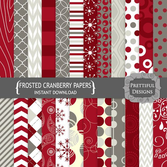 Digital Scrapbooking Papers - Frosted Cranberries (769)