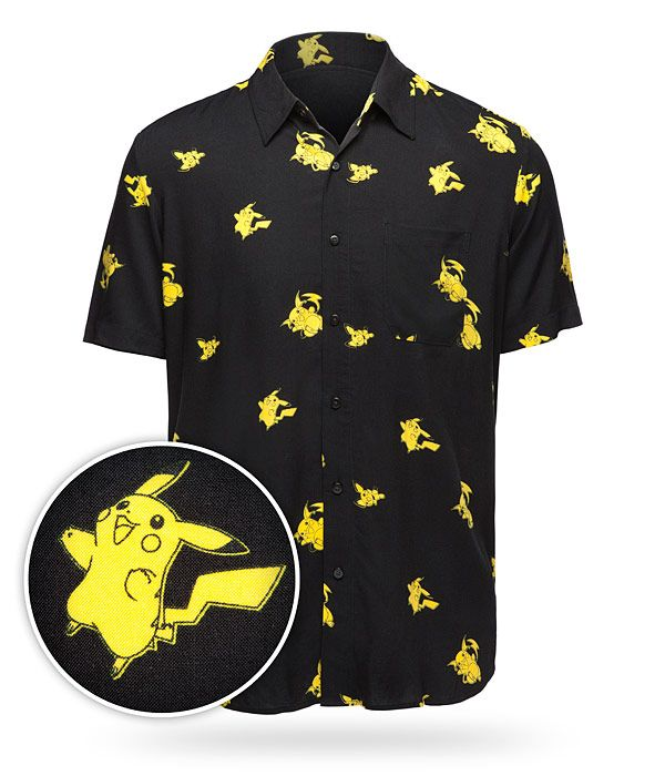 The tiny adorable Pichu evolves into the sassy Pikachu, and with a Thunder Stone you can turn a Pikachu into Raichu... and all three can be found on this sleek button-up shirt!
