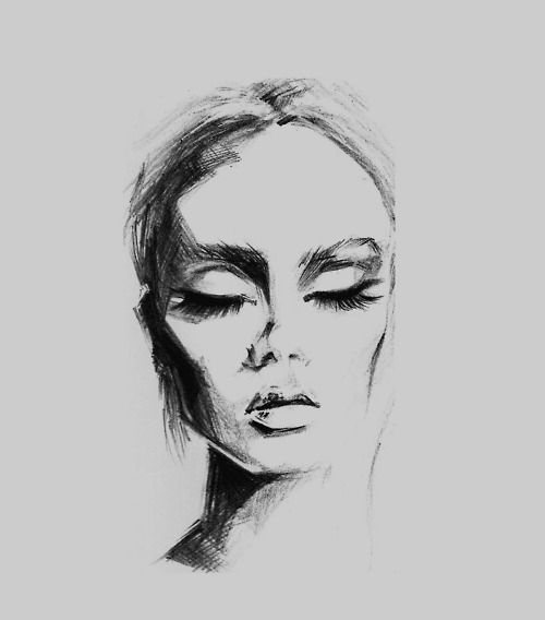 hauteinnocence:  karinakrista:  At school we have to study model faces, so here's on of my latest drawings  I wish I could draw like this  A...