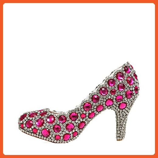 Oudy Women's Vintage Bridal Stiletto Diamonds Platform Beauty Pageant Shoes 8 US 3.25In Heels Fuchsia&Silver - Pumps for women (*Amazon Partner-Link)