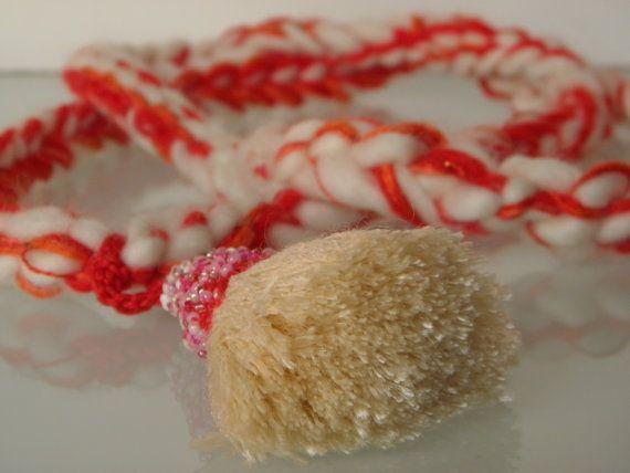 crochet necklace silk handmade tussock glass beads by ginageo, €25.00
