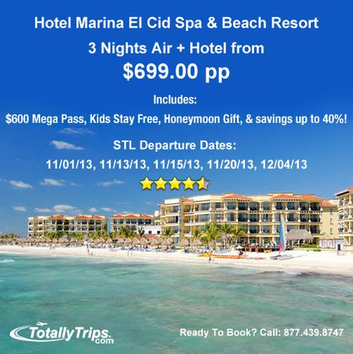 Last Minute Vacation Deal Out of St. LouisHotel Marina El Cid Spa and Beach Resort is on sale out of STL this week - 3nts air+hotel from $699pp including $600 Mega Pass, Kids Stay Free, and a Honeymoon Welcome Gift! Learn more at: http://www.totallytrips.com/last-minute-deals/ Last Minute Vacation Deal Out of Other Departure Cities http://www.funjet.com/Deals/Last-Minute-Vacations.aspx?osChkType2=ondeal=LastMinuteDealsplcode=6369315001