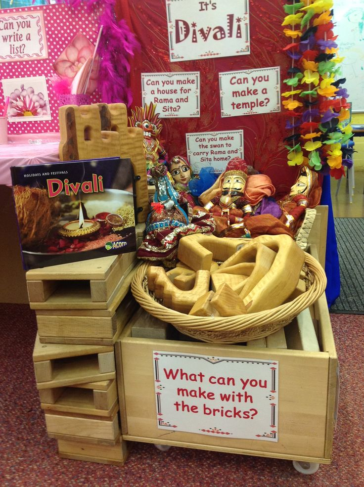 """Great """"Genius Hour"""" challenge! (Divali-themed) What can you make with the bricks & blocks?... a temple? a house for Ram & Sita? a swan?"""