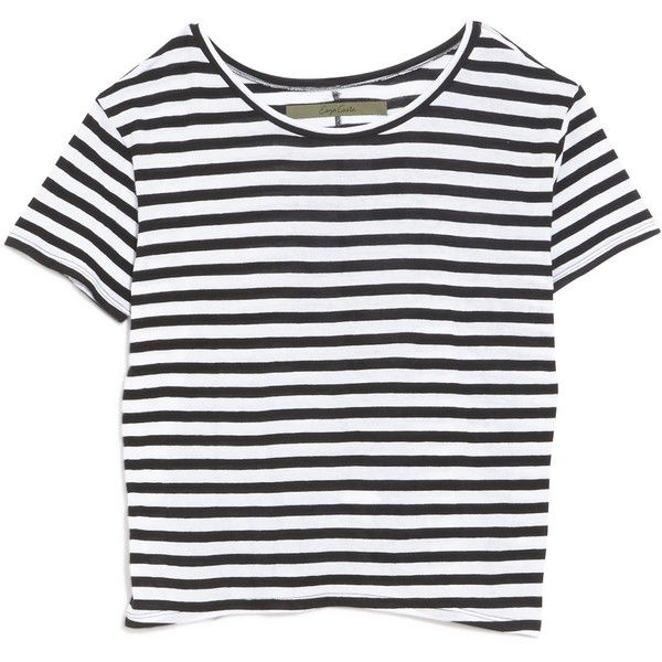 Enza Costa Striped Boy Tee ($115) found on Polyvore featuring tops, t-shirts, shirts, crop tops, striped shirt, shirts & tops, striped tee, striped top and stripe shirt