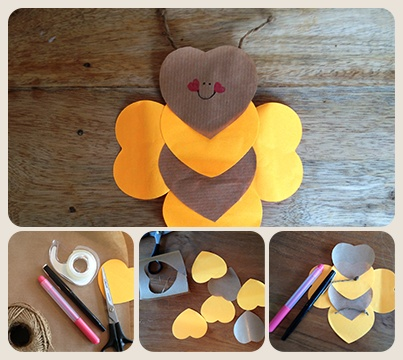 Bee My Valentine? ♥ ♥ ♥ ♥ ♥ ♥ Plak 6 hartjes en 2 stukjes touw aan elkaar en je hebt er een bijtje bij op Valentijnsdag