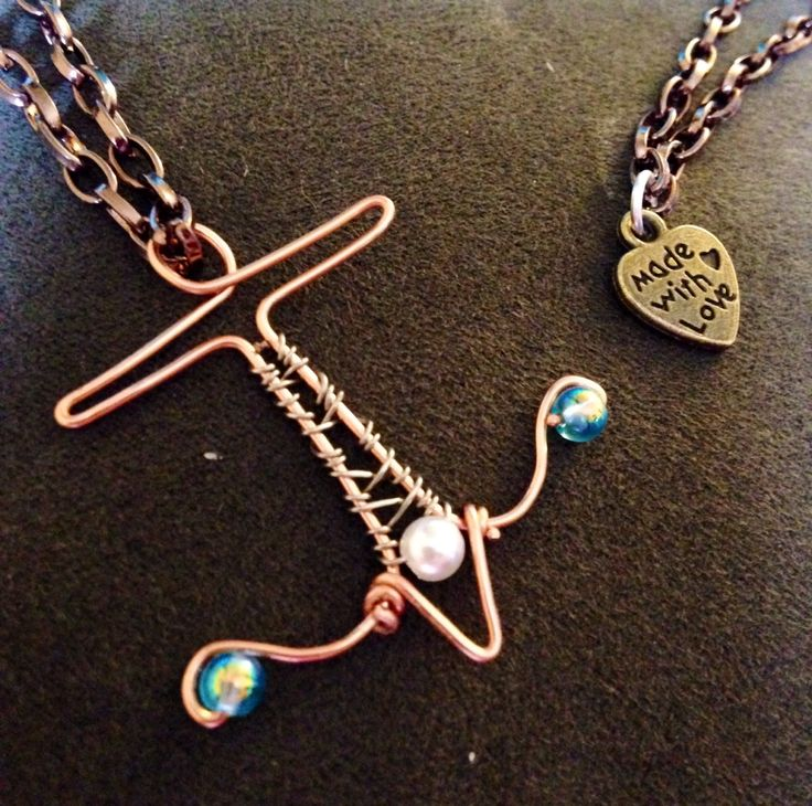 Copper anchor pendant necklace. Hand made wire wrapped with beadwork!