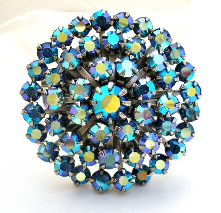 Vintage Weiss Brooch Blue Ab Rhinestone Prong Set Jewelry Pin Rockability Hi End #Weiss