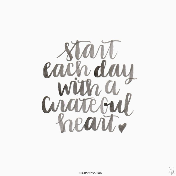 Start each day with a grateful heart. / Lettering by The Happy Candle / The Happy Candle: Tagged: Liebster Award Collection / #quote #lettering