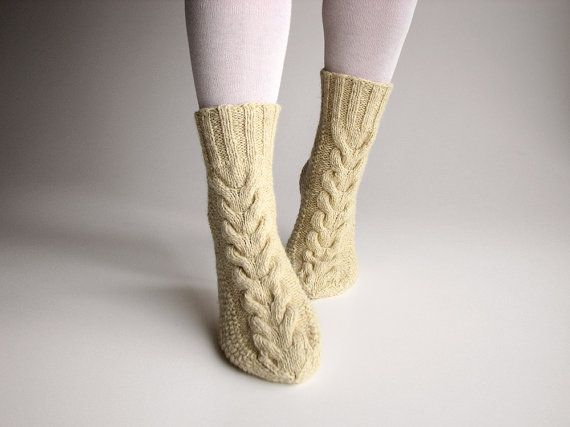 Hand Knitted Braided Cable Women's Socks - 100 % Natural Organic Wollen Eco Clothing - Unbleached White Wool Yarn on Etsy, $35.24
