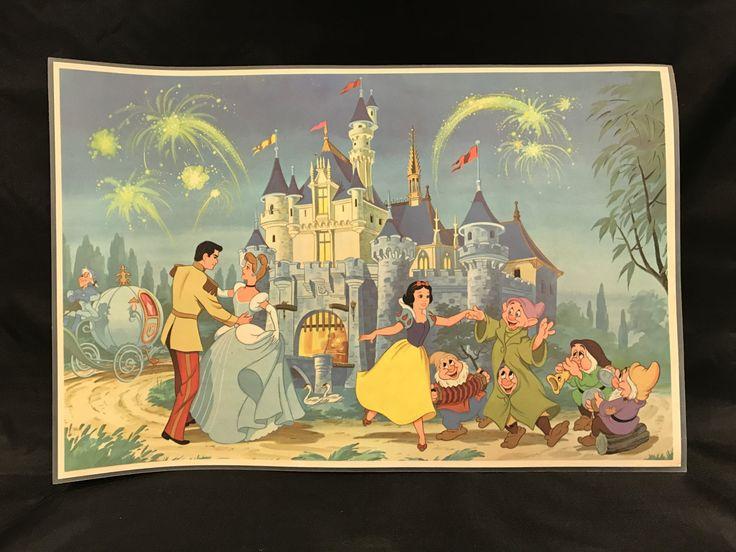 DISNEYLAND PLACE MAT, Vintage Disney placemat, Cinderella's Castle souvenir, vintage Disney souvenir, gift for child, Cinderella gift by TheJellyJar on Etsy