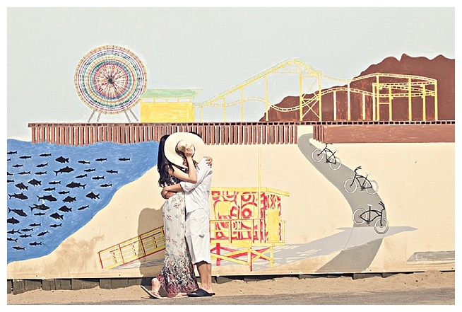 #SMpinspiration.  Vintage style e-sesh on Santa Monica Beach with Pier inspired backdrop.