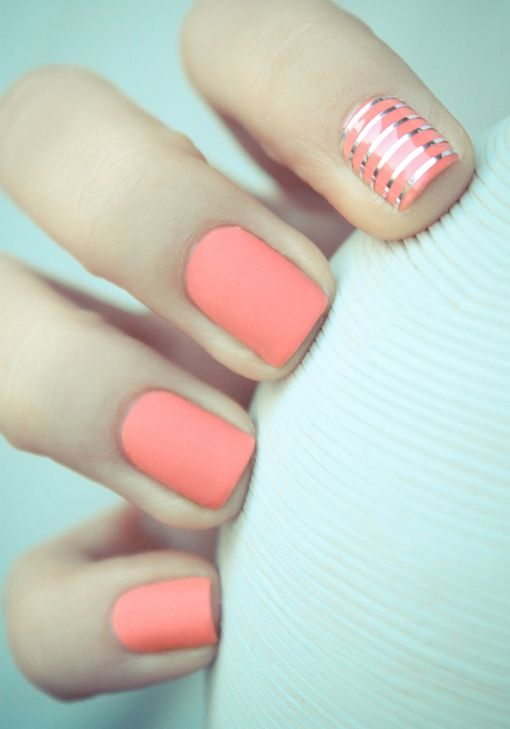 Coral nails with pretty silver lines - Gorgeous! via @laurenmilroy #nailart #beauty #manicure