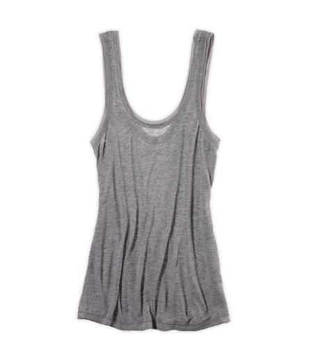 Soft, wispy cotton blend, Sexy fit, Scoop neck and scoop back, Pretty shimmer trim More Details