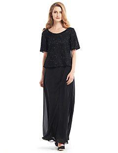 lanting kılıf / gelin elbise sütun anne - siyah ayak bileği uzunlukta yarım kollu şifon / dantel