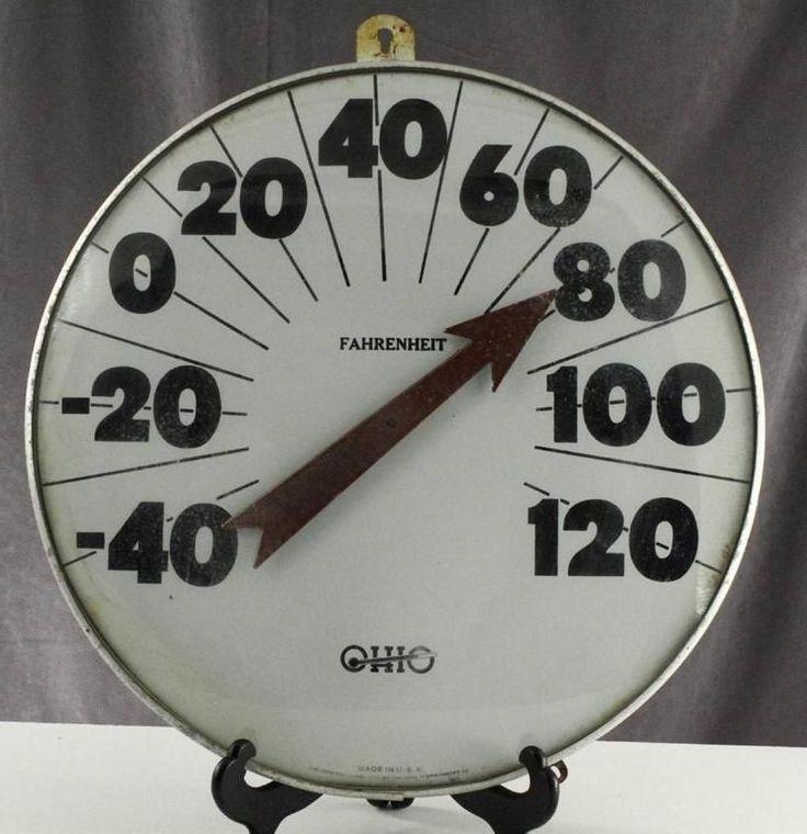 Vintage Ohio Dome Glass Jumbo Dial Black Number Fahenheit