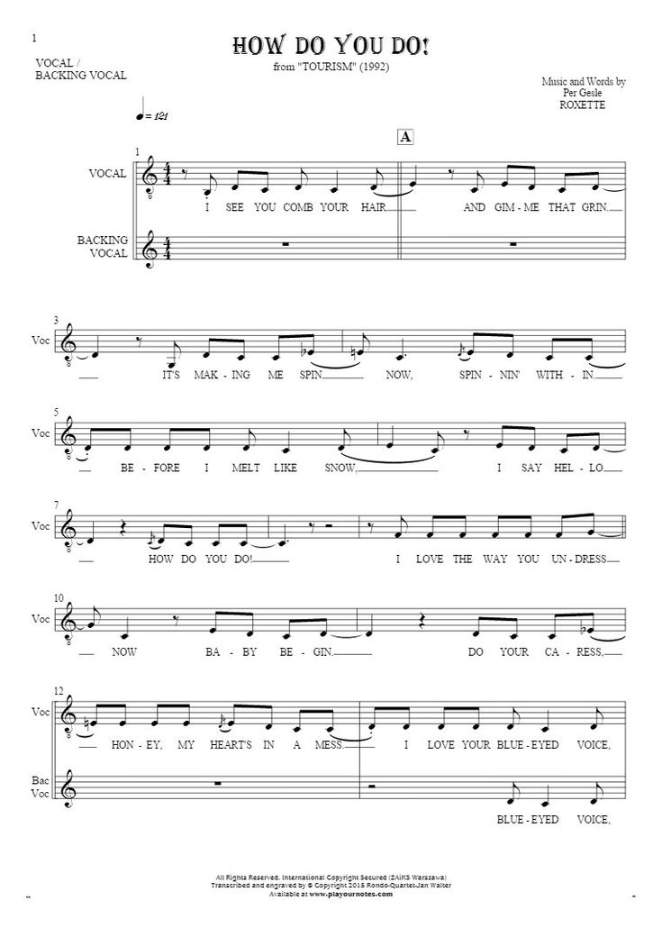 How Do You Do! sheet music by Roxette. From album Tourism (1992). Part: Notes and lyrics for vocal.