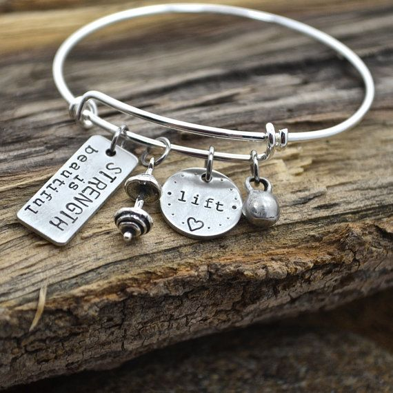 Strength Is Beautiful Lift Love CrossFit Bangle Bracelet with Sterling Silver Barbell and Mini Kettlebell Charms