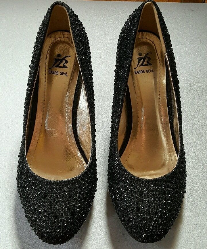 Easos Geal 8.5 wedge black studs sequins jewels high heels party holiday sparkly #EasosGeal #PlatformsWedges #Party