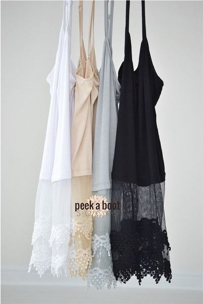Top extenders made of stretchy knit cotton with gorgeous lace detail. Adjustable straps.
