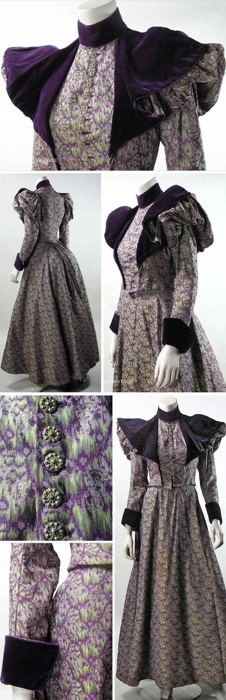 Two-piece bustle dress, ca. 1890s, in heavy green, lavender and purple silk & purple silk velvet. Boned, lined bodice with leg of mutton sleeves overlaid with cape-like expanse of velvet, matching velvet stand-up collar & gauntlet cuffs. Twilled wool petersham with hook & eye closure and cut-steel and brass-filigree buttons. Bustle skirt has purple velvet band inside hemline, black polished cotton lining & twilled waistband with hooks & eyes. Marzilli Vintage/Ruby Lane