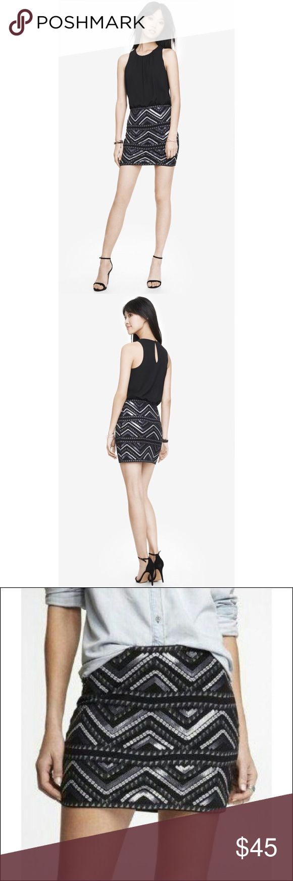 ✨ Women's Black Aztec Sequin 2-In-1 Mini Skirt✨ ✨ Black, white and silver sequins - it's a combo that's perfect for nighttime action with a solid black cropped top as a companion. Or try this stretch cotton mini with a denim button-down and T-straps for some festing under the sun.  Elastic waist, slip-on styling All-over Aztec patterned sequin embellishment Lined Straight hem, hits above the knee Cotton/Spandex; Polyester lining Hand wash Imported✨ Express Skirts Mini