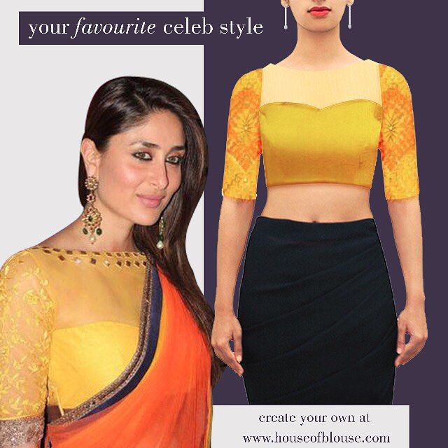 Diggin' Kareena's drop dead gorgeous style? Check out our yellow blouse number which can give you a similar effect :) Available readily here: bit.ly/1MsbV2n OR Customise the sleeves, neck, fabric, add ons here: bit.ly/1IAa0sM *Shipping worldwide* Whatsapp helpline: +91 81050 68601  #saree #blouse #sareeblouse #indianwear #bollywood #celebstyle #fashion #style #sheer #yellow