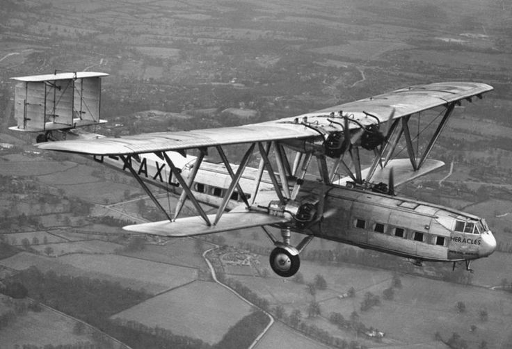 "Imperial Airways Handley Page H.P.45 G-AAXC ""Heracles"" in-flight. The 8 H.P.42/45 variants produced were the world's largest bi-plane airliners."