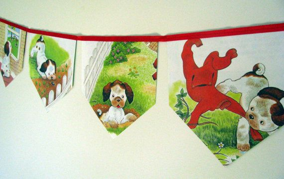 The Poky Little Puppy's Naughty Day Storybook bunting by MagpieSailor on Etsy