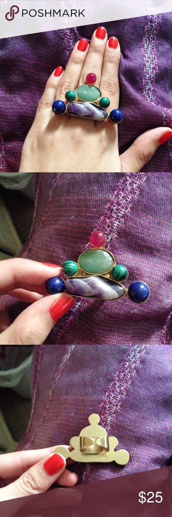 Quartz ring 🔮 Stunning statement ring that includes many healing quartz/gemstones that include Lapis, green aventurine, carnelian, amethyst, and green malachite! Got this gorgeous ring in San Francisco in a natural crystal/quartz shop. Never really got to wear it. Make it yours, it's also adjustable! Perfect condition! Guarantee complements. Not Anthropologie 🎉Bundle & Save🎉 Anthropologie Jewelry Rings