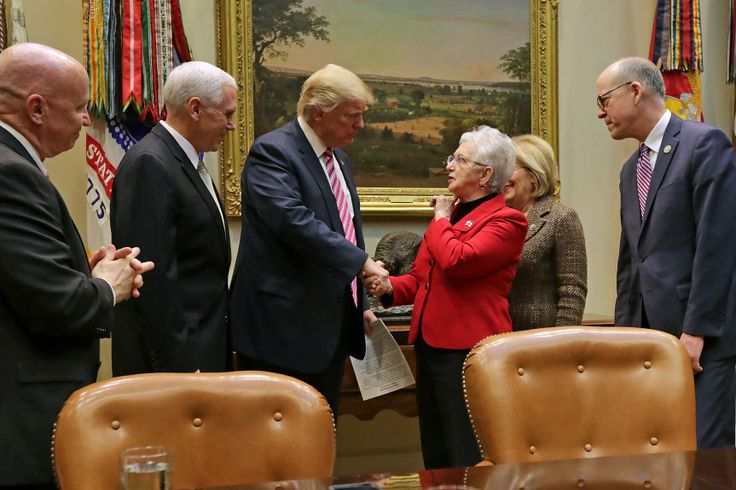 WASHINGTON, DC - MARCH 10:  U.S. President Donald Trump (C) and Vice President Mike Pence (2nd L) greet House of Representatives committee leaders (L-R) Ways and Means Committee Chairman Kevin Brady (R-TX), Education and Workforce Committee Chairwoman Virginia Foxx (R-NC), House Budget Committee Chairwoman Diane Black (R-TN) and Energy and Commerce Committee Chairman Greg Walden (R-WA) before a meeting to discuss the American Health Care Act in the Roosevelt Room at the White House March 10…