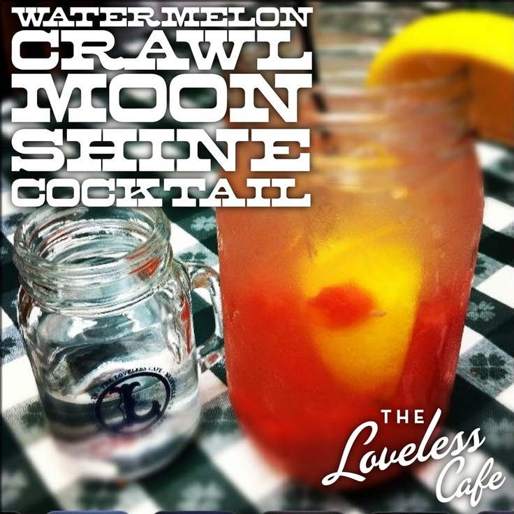 1/2 cup ice, 4 cubes fresh ripe watermelon, 1/2 lemon squeezed, 1.5 oz. moonshine, shake and add1/2 cup lemonade and a splash of sprite, Top with additional ice and enjoy.. from the Loveless Cafe