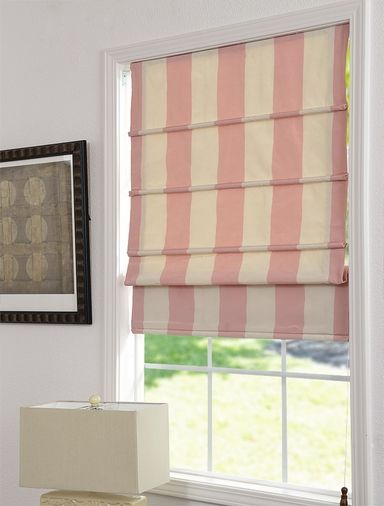 Perfect Front Slat Faux Silk Taffeta Stripe Roman Shades ***Available In 10  Colorways*